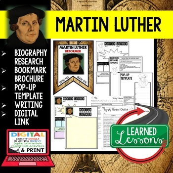 Martin Luther Biography Research, Bookmark Brochure, Pop-Up Writing Google