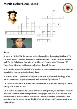 Martin Luther Crossword