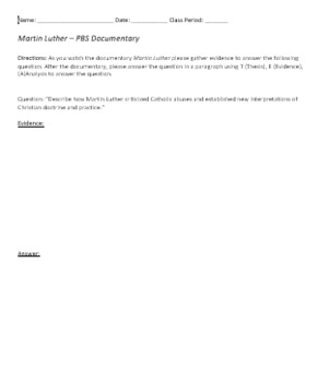 Martin Luther Documentary Handout