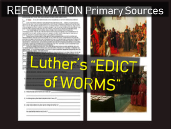 """Martin Luther """"Edict of Worms"""": Primary Source Document w questions"""