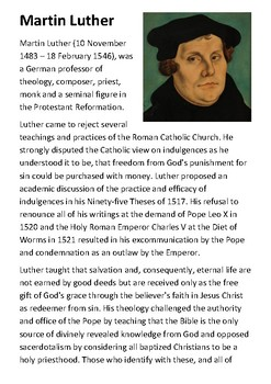 Martin Luther Handout