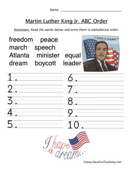 Martin Luther Kind Jr. ABC Order Worksheet by Have Fun ...