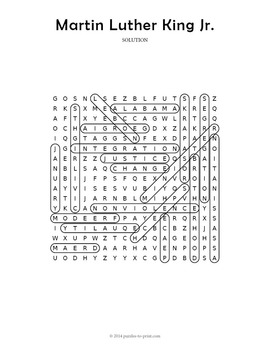 Martin Luther King Word Search Puzzle