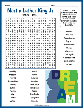 FREE Martin Luther King Jr. Word Search