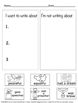 Martin Luther King 4 Square Writing and Sentence Building