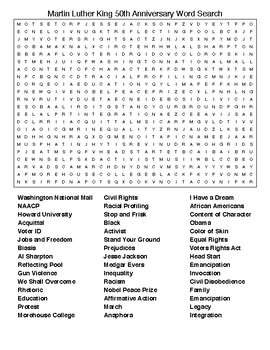 Martin Luther King 50th Anniversary Word Search With Key Tpt