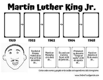 Martin Luther King Activity - Martin Luther King Actividad (Spanish)