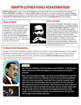 Martin Luther King MLK Assassination reading handout and worksheet