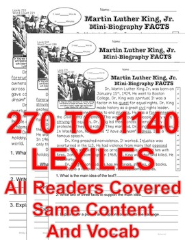 Martin Luther King BIO and MLK Day CLOSE READ LEVELED PASSAGES Main Idea Fluency