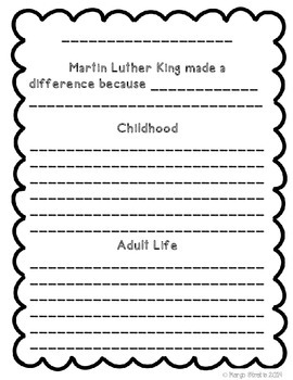 Martin Luther King Biography Writing Project