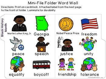 Martin Luther King / Black History Month Mini-Word Wall Activity Pack