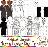 Martin Luther King Clip Art MLK Jr. Worksheet Elements for Tracing Cutting Maze