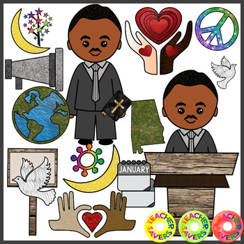 Martin Luther King Clip Art Set Commercial and Personal Use