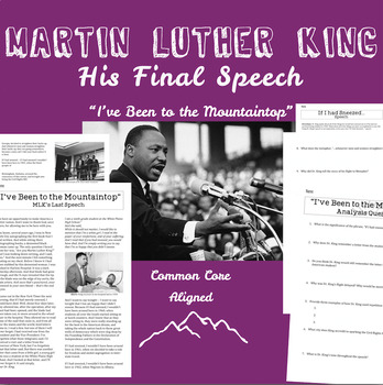 """Martin Luther King's Last Speech """"I've Been to the Mountaintop"""" Unit"""