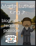 Martin Luther King Close Reading Comprehension Biography and Questions