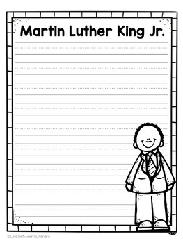 Martin Luther King Close Reading Text, Comprehension Questions, & Writing Paper