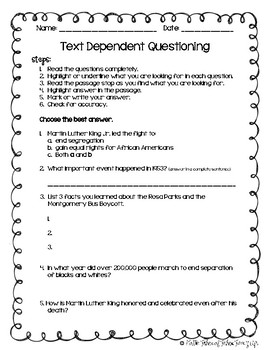 Martin Luther King Close Reading & Writing Prompt