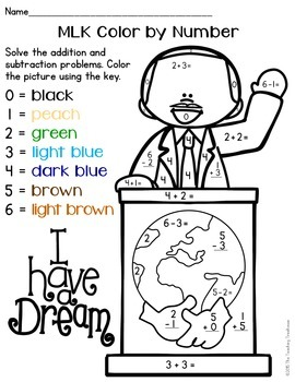 MLK Color by Number, Addition & Subtraction Within 10 by ...