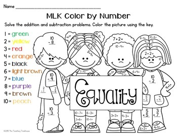 Mlk Color By Number Addition Subtraction Within 10 By The