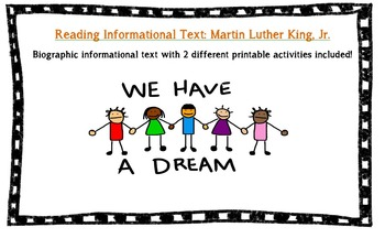 Martin Luther King Common Core Informational Reading with text based Questions