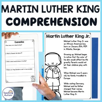 Martin Luther King Reading Comprehension Passages and Questions MLK