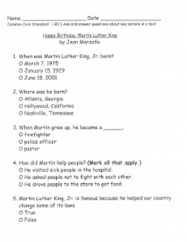 Martin Luther King Comprehension Test