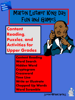 Martin Luther King Content Reading, Puzzles, Activities,Fun & Games Upper Grades