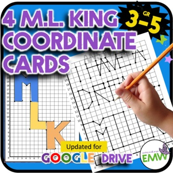 Martin Luther King MLK Jr Math Coordinate Activity Drawing Task Cards