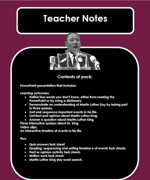 Martin Luther King Day (presentation/quizzes/worksheets)