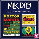 Color-By-Note MLK Music Coloring Sheets, Dr. Martin Luther King Jr. Quotes