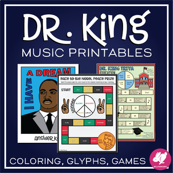 Martin Luther King Day Music Games and Worksheet Activities