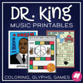 Dr. Martin Luther King Jr. Day Music Coloring, Games, & MLK Worksheets