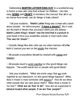 Martin Luther King Day Talking Points Craft And Song Tpt