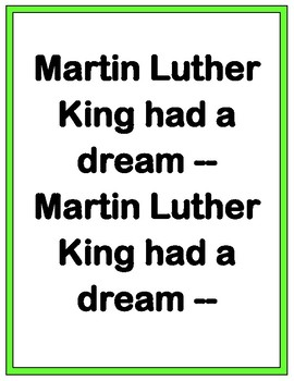 """""""Martin Luther King Day"""" - 'Talking Points', Craft, and Song!"""