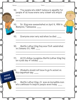 Martin Luther King Day: Fact or Opinion Practice