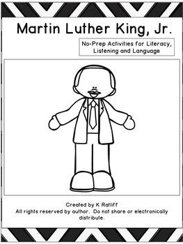 Martin Luther King Day:  No Prep Literacy, Language and Li