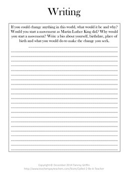 Martin Luther King Day Packet with Worksheets and Keys