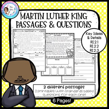 Martin Luther King Day Passages with Questions - RI.2.1, RI.2.2, RI.2.3