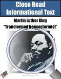 Martin Luther King Jr. Transformed Non Conformist Close Reading Unit