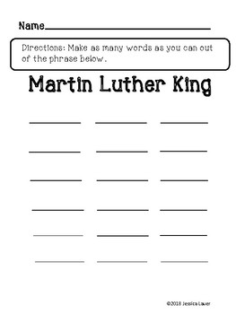 Martin Luther King Word Activity Grades 3-6...Great January Resource!