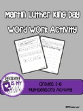 Martin Luther King Word Activity Grades 3-6...Great Januar