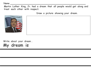 Martin Luther King Day Writing Activity- Kindergarten or First Grade