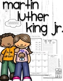 Martin Luther King Day writing prompt, crossword, vocab, abc order, < > =