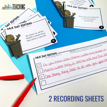 Martin Luther King Editing Task Cards