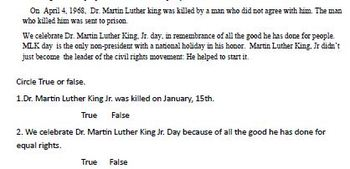 Martin Luther King, Grade 1 2 and 3