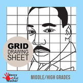 Martin Luther King Grid Drawing Worksheet for Middle/High Grades