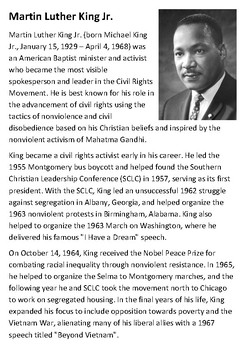 Martin Luther King Handout