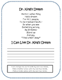 Martin Luther King Handprint Activity and Poem
