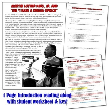 """Martin Luther King """"I Have a Dream"""" Activity"""