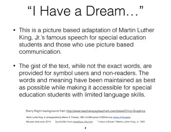 """Martin Luther King """"I Have a Dream"""" Speech Picture Adapted for Special Education"""